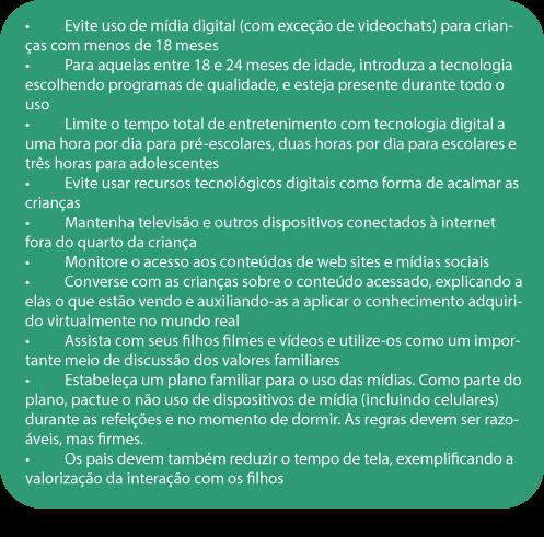 recomendações para o uso de tecnologia pelas crianças